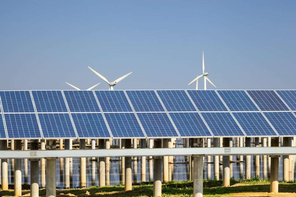 green energy against a blue sky